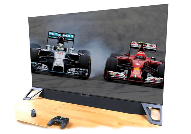HDR soundbar with monitor showing race cars